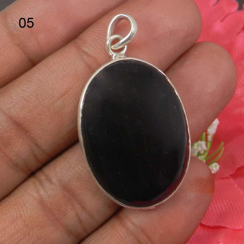 Natural Black Onyx 925 Sterling Silver Designer Bezel Set Pendant
