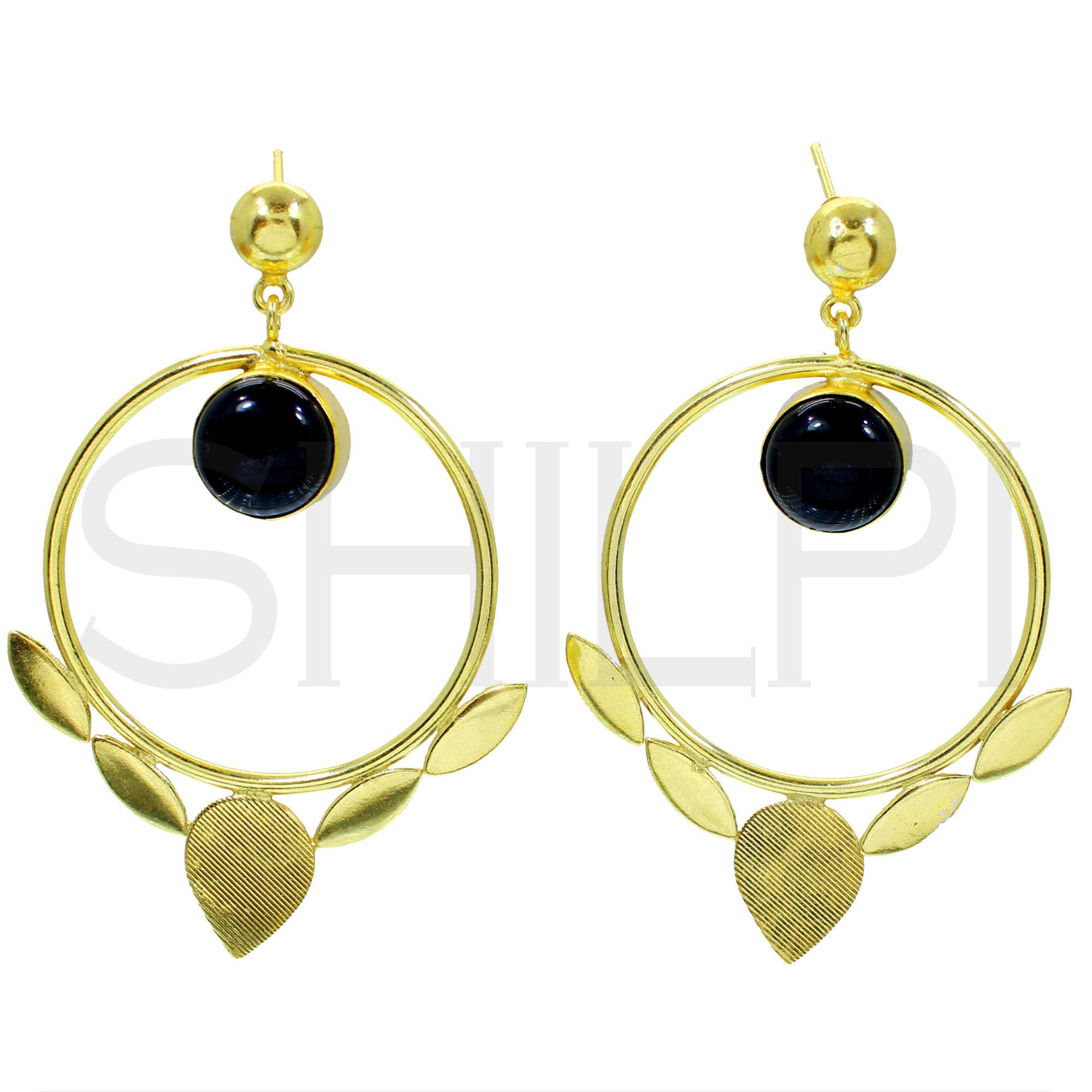 Natural Black Onyx Gold Plated Designer Handmade Stud Earrings