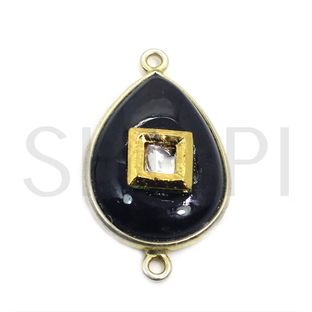 Natural Black Onyx Gold Plated Double Loop Connector