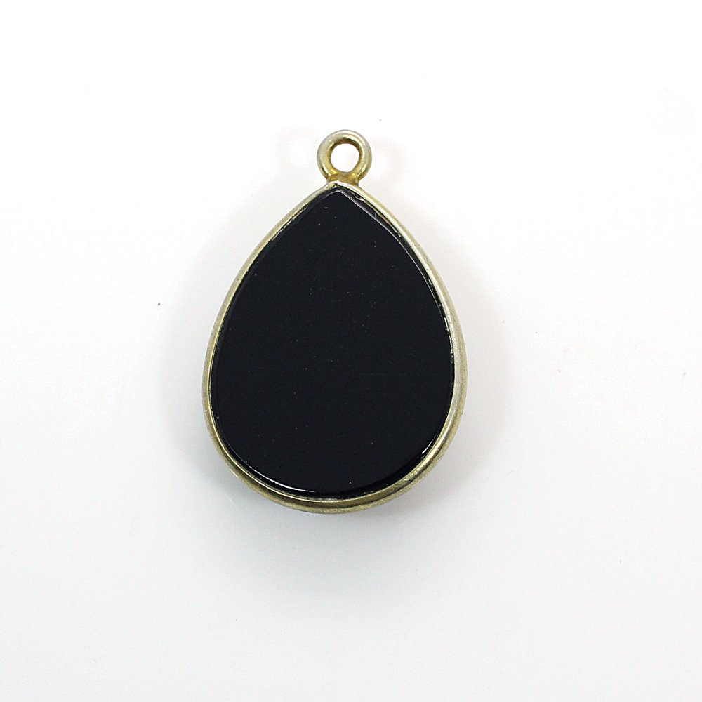 Natural Black Onyx Gold Plated Single Loop Connector