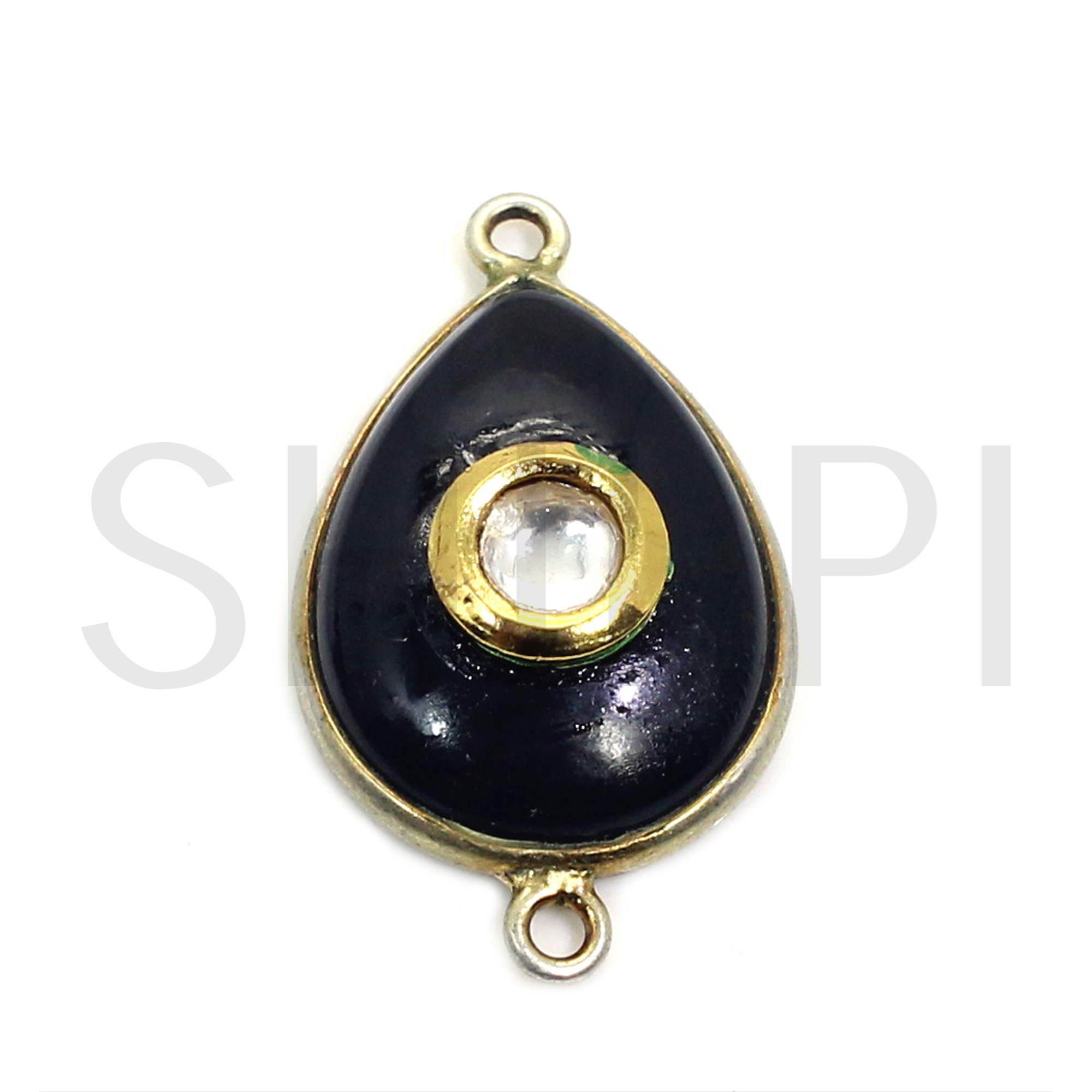 Natural Black Onyx With Tiny White Stone Gold Plated Double Loop Connector