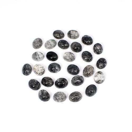 Natural Black Rutile 10x8mm Oval Cabochon 27 Pcs Lot 86.4 Cts Loose Gemstone
