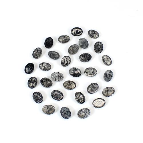 Natural Black Rutile 8x6mm Oval Cabochon 33 PCs Lot 42.9 Cts Loose Gemstone