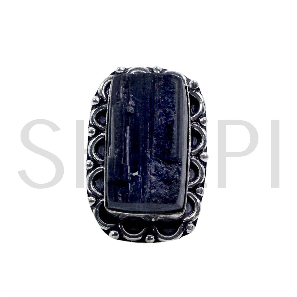 Natural Black Tourmaline Oxidized 925 Sterling Silver Ring