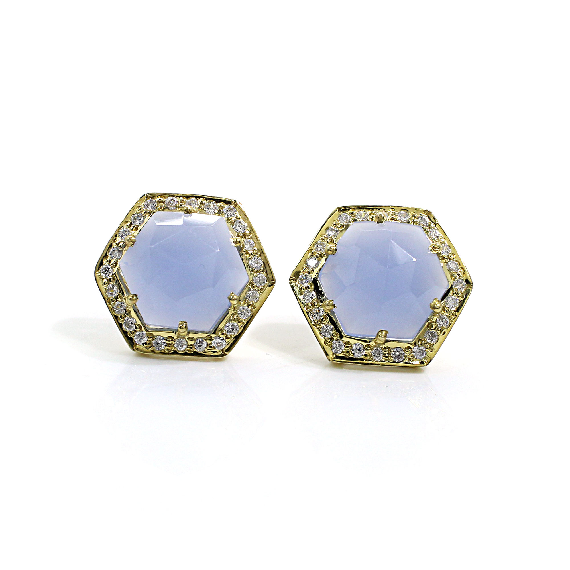 Natural Blue Chalcedony with CZ Silver Stud Earrings