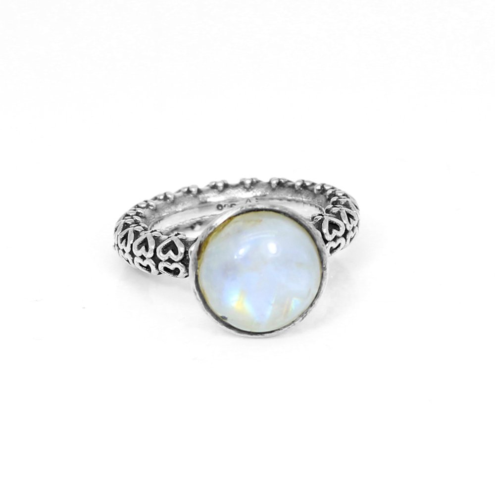 Natural Blue Sheen Rainbow Moonstone Ring Solid 925 Sterling Silver Rings Heart Designer Band Wedding Rings Engagement Ring