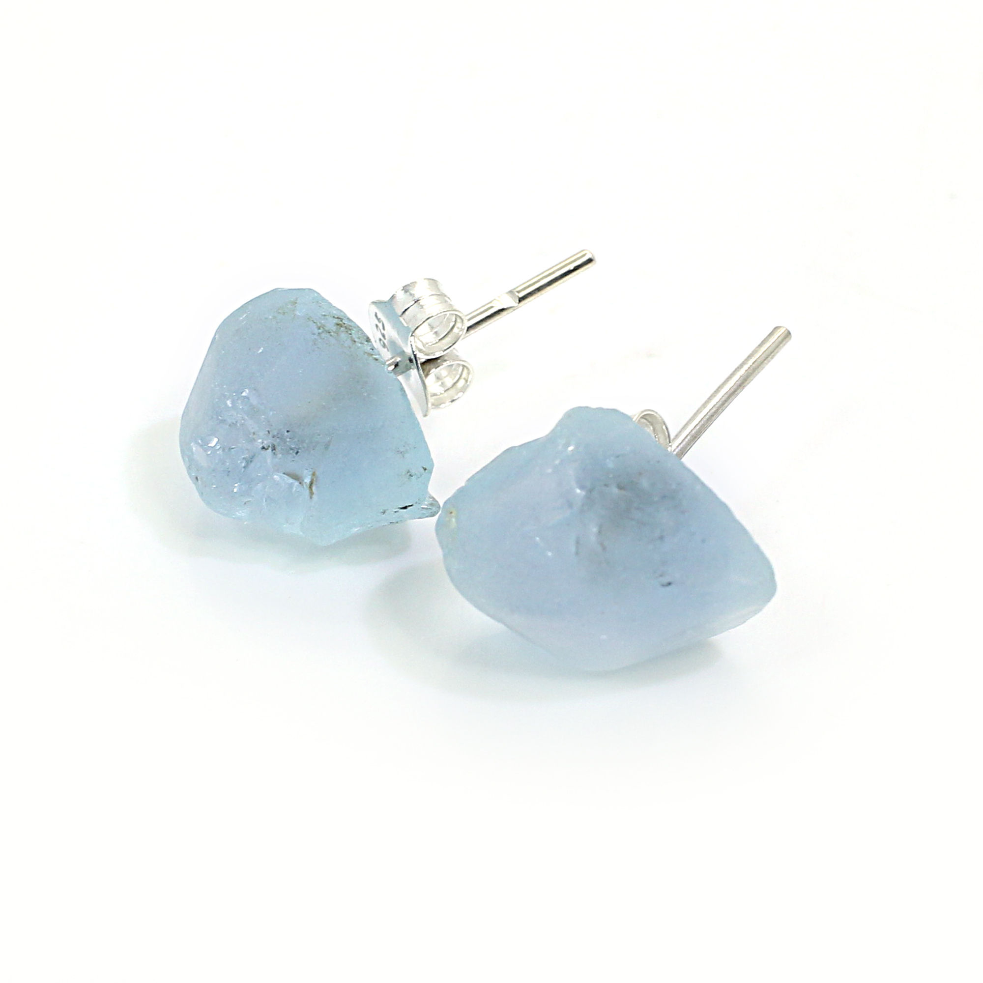 Natural Blue Topaz Rough 925 Sterling Silver Stud Earring