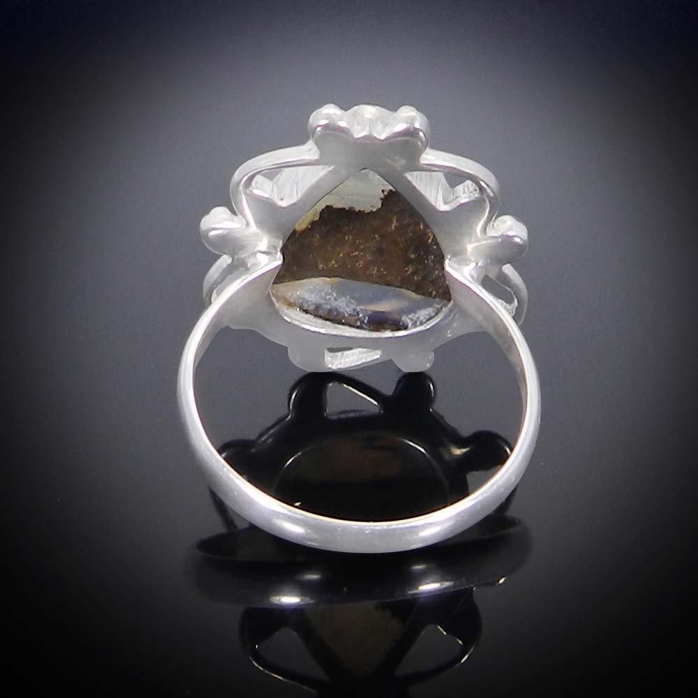 Natural Boulder Opal 925 Sterling Silver Designer Bezel Set Ring