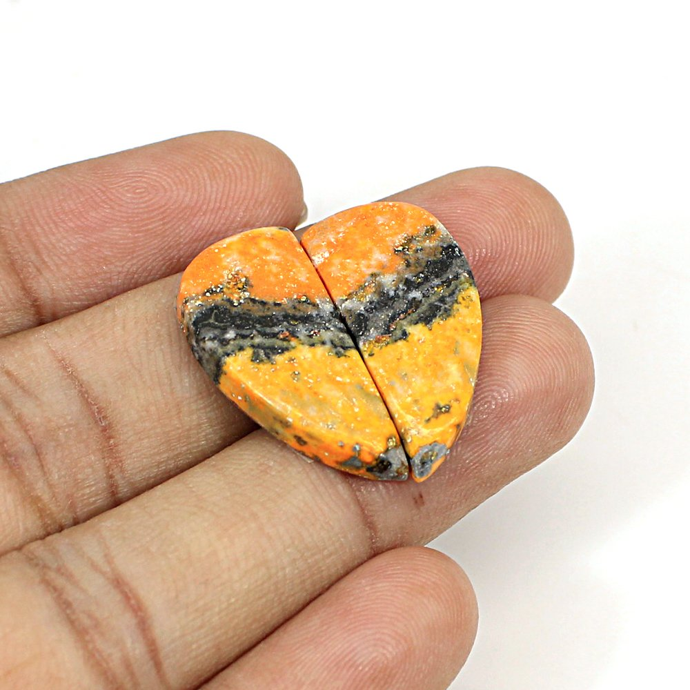 Natural Bumble Bee Fancy Cabochon 24x11mm 19.45Cts 1 Pair Loose Gemstone For Jewelry Making