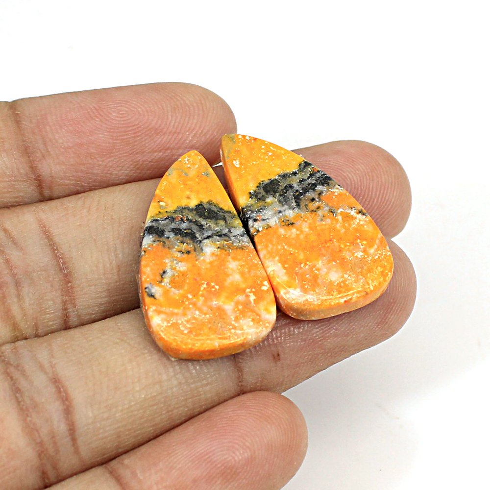 Natural Bumble Bee Fancy Cabochon 26x14mm 24.45Cts 1 Pair Loose Gemstone For Jewelry Making