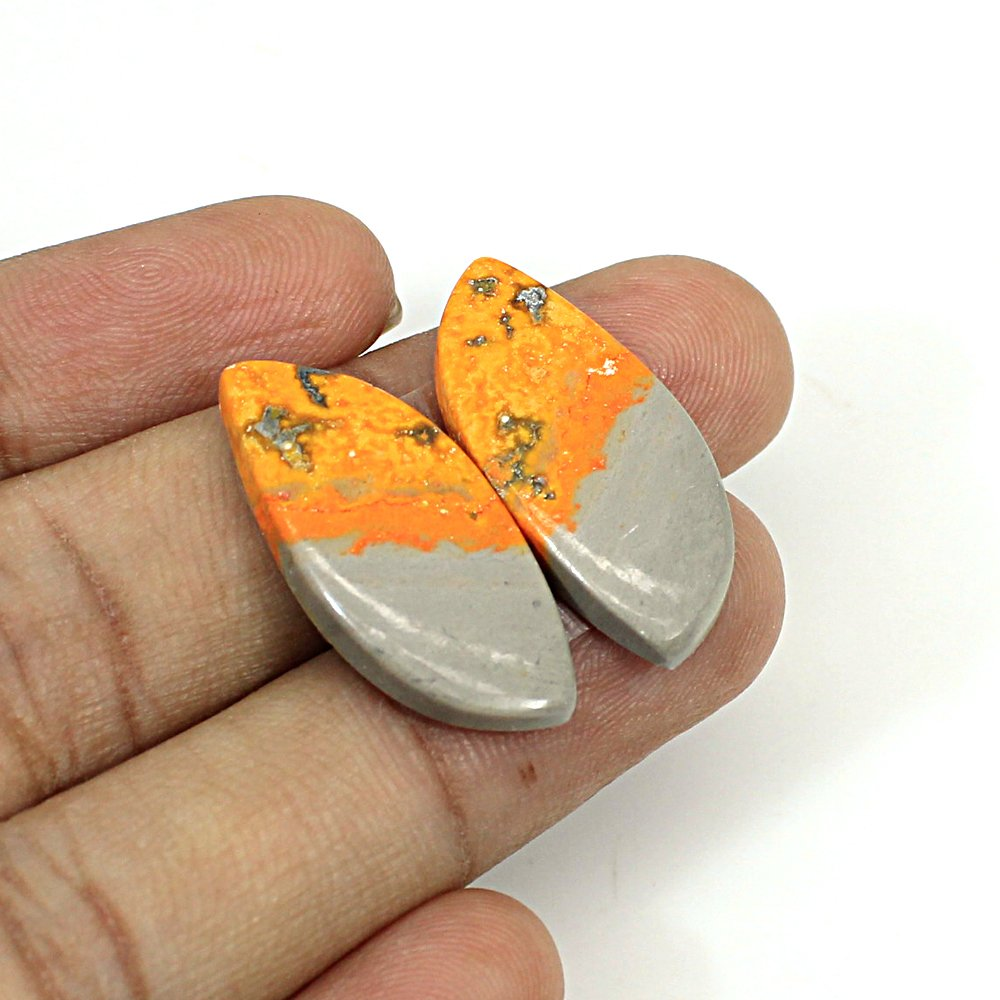 Natural Bumble Bee Fancy Cabochon 27x12mm 21.65Cts 1 Pair Loose Gemstone For Jewelry Making