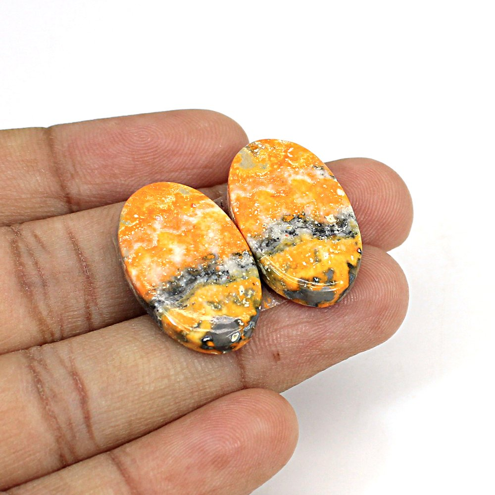 Natural Bumble Bee Oval Cabochon 25x15mm 29.45Cts 1 Pair Loose Gemstone For Jewelry Making