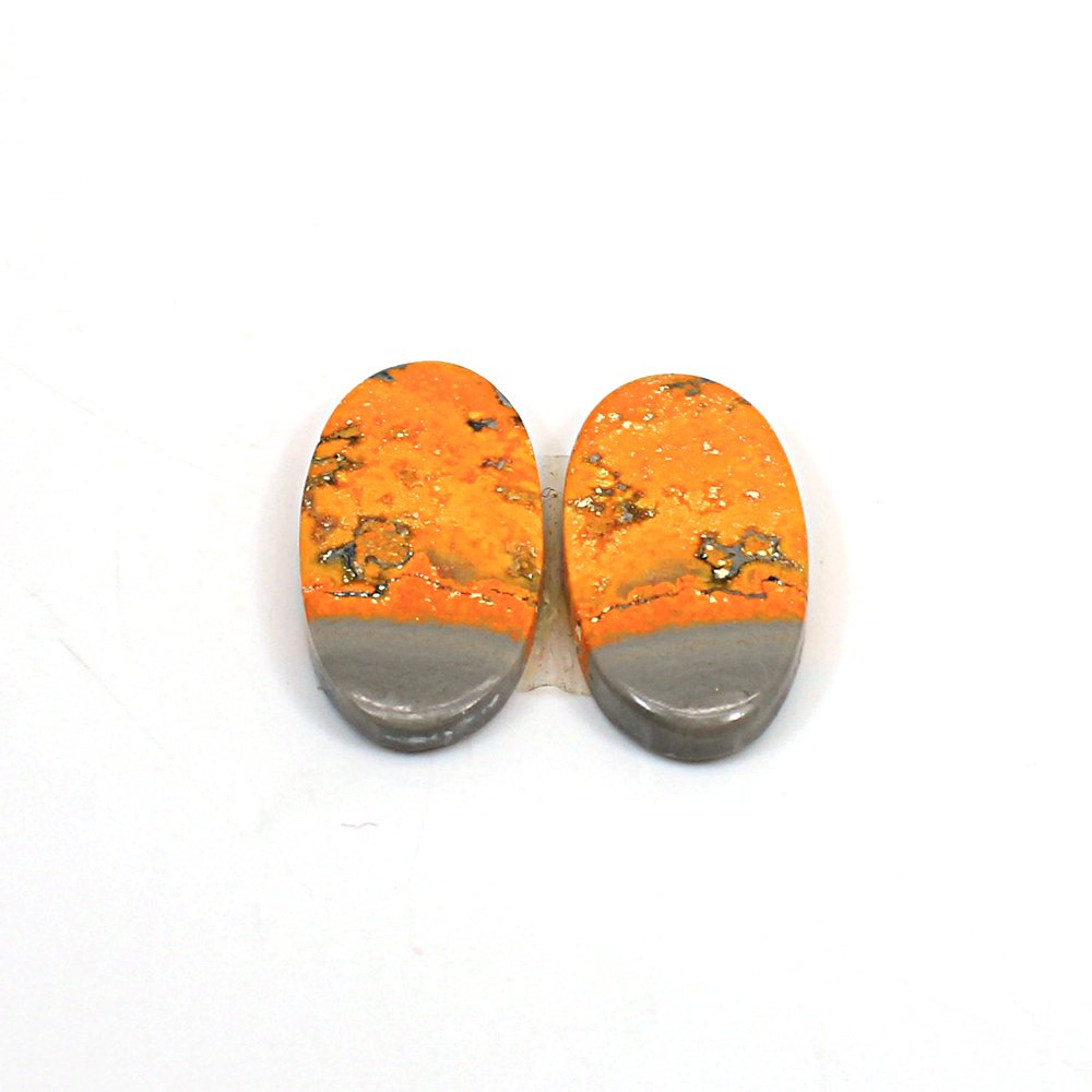Natural Bumble Bee Oval Cabochon 26x13mm 25.20 Cts 1 Pair Loose Gemstone For Jewelry Making