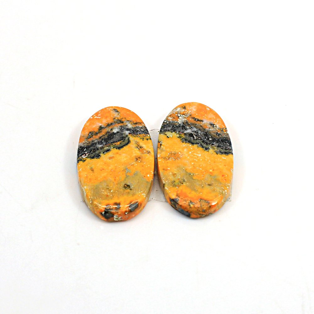 Natural Bumble Bee Oval Cabochon 26X14mm 25.75 Cts 1 Pair Loose Gemstone For Jewelry Making