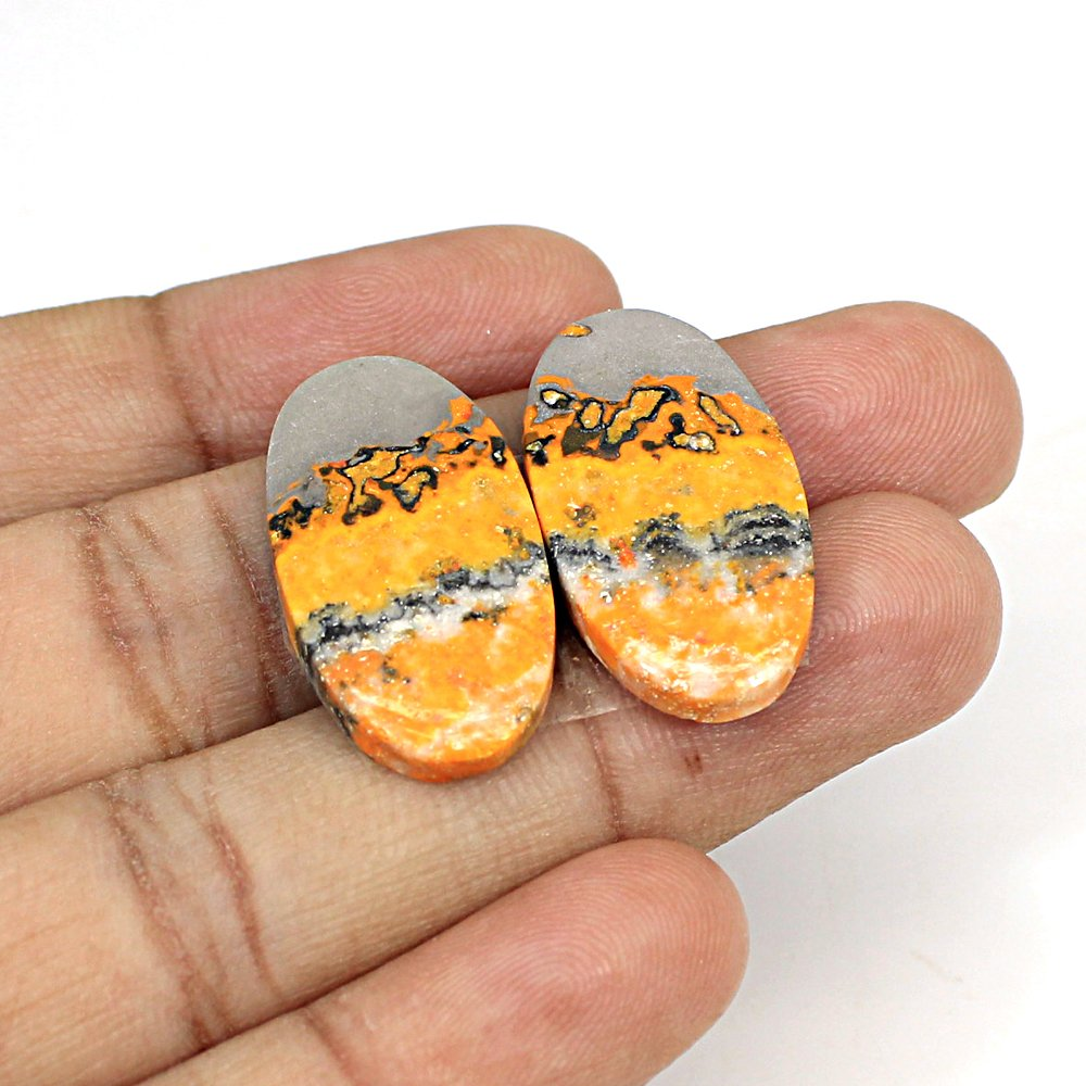 Natural Bumble Bee Oval Cabochon 27x14mm 26.85 Cts 1 Pair Loose Gemstone For Jewelry Making