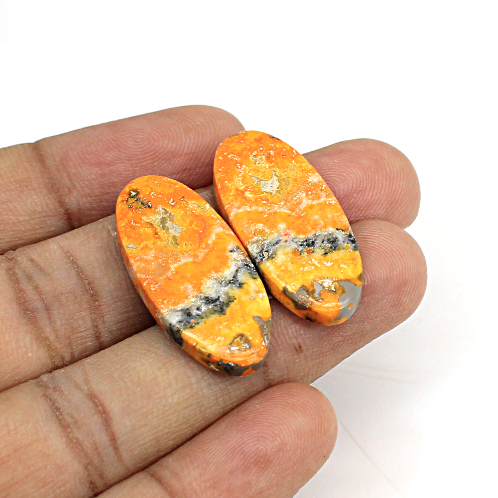 Natural Bumble Bee Oval Cabochon 29x13mm 26.10Cts 1 Pair Loose Gemstone For Jewelry Making