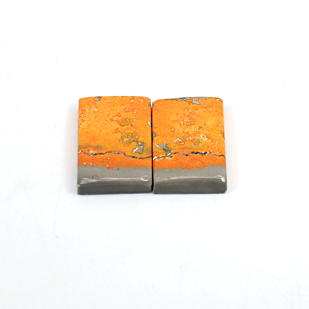 Natural Bumble Bee Rectangle Cabochon 20x13mm 20.40 Cts 1 Pair Loose Gemstone For Jewelry Making