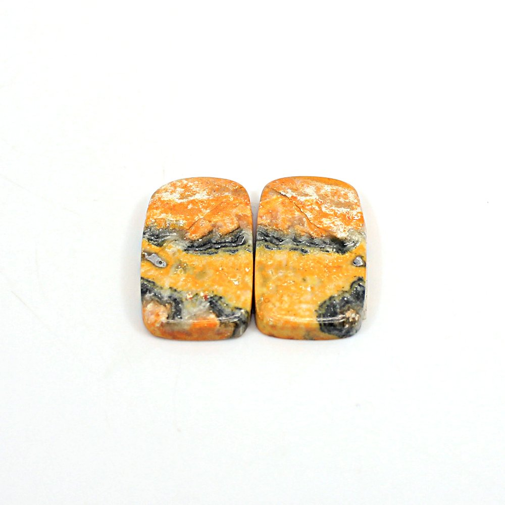 Natural Bumble Bee Rectangle Cushion Cabochon 24X13mm 25 Cts 1 Pair Loose Gemstone For Jewelry Making