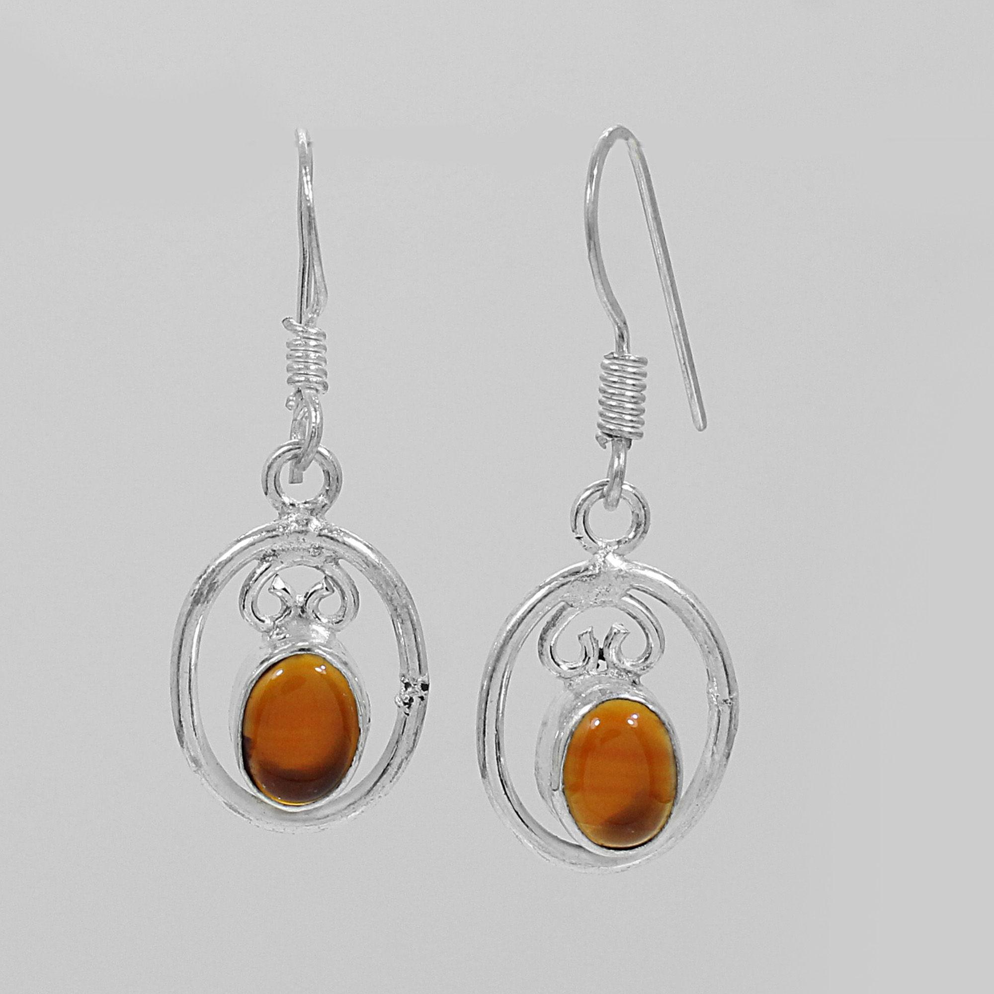 Natural Carnelian Silver Dangle Earrings