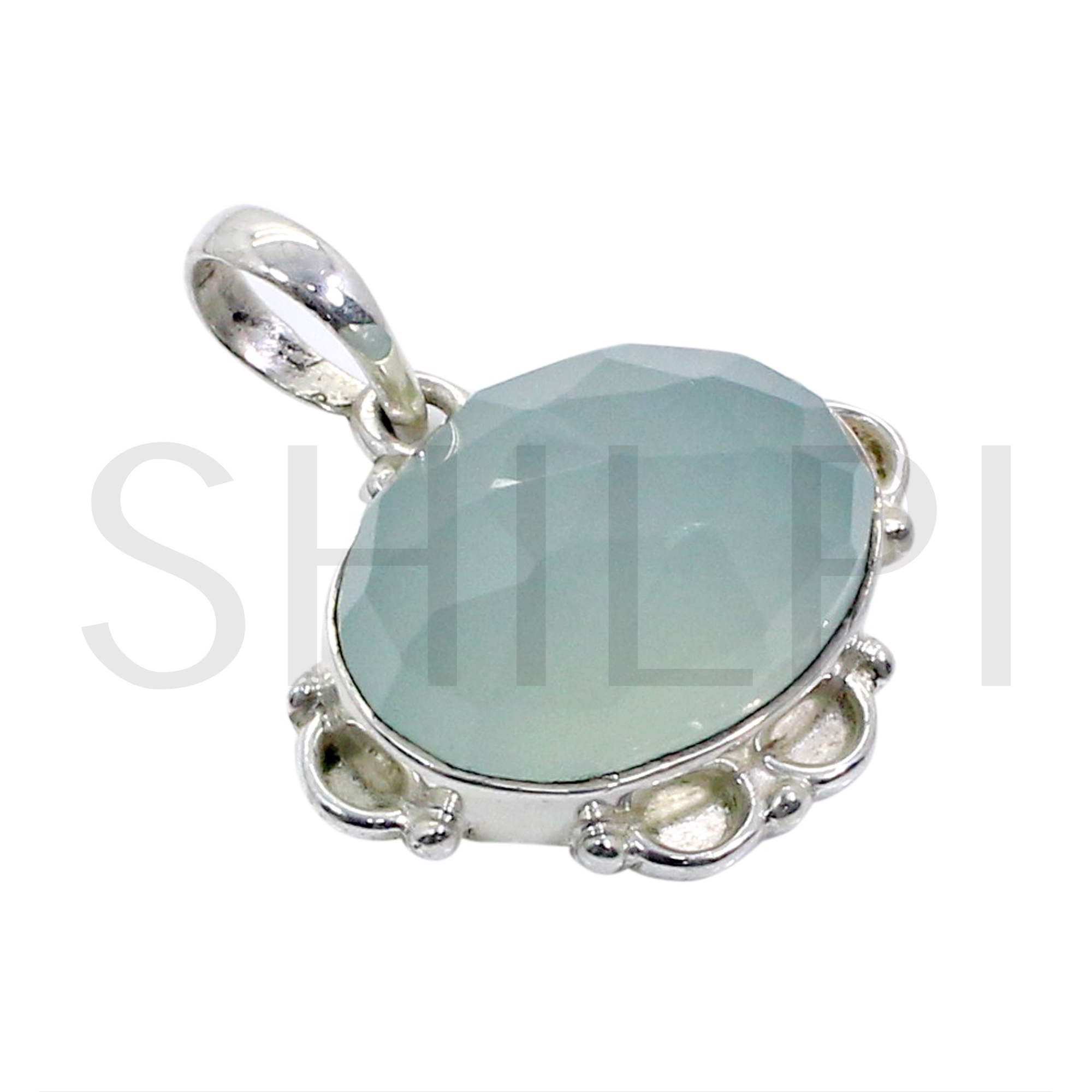 Natural Chalcedony 925 Sterling Silver Designer Bezel Set Pendant