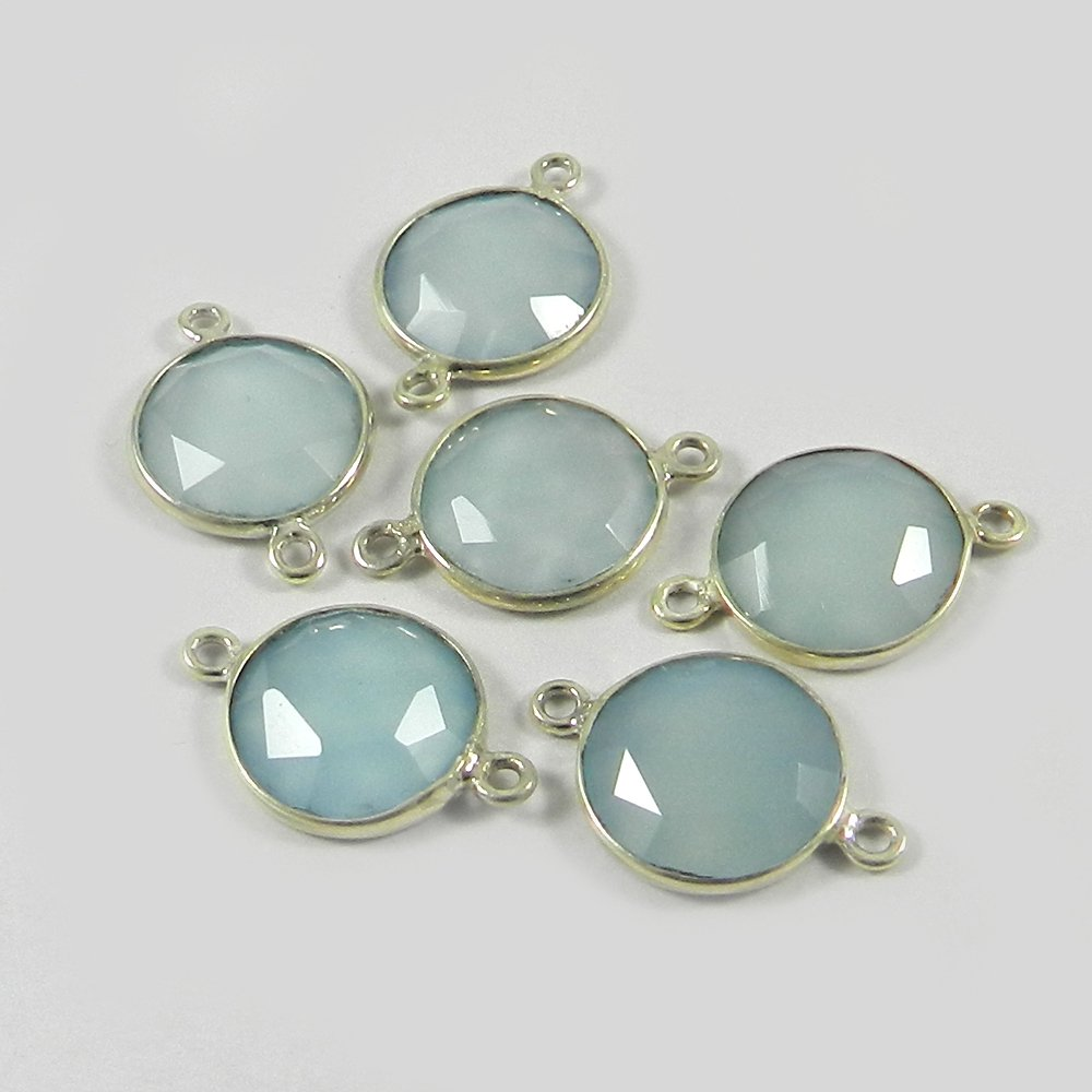 Natural Chalcedony Round 19x12mm 925 Sterling Silver Double Loop Connector