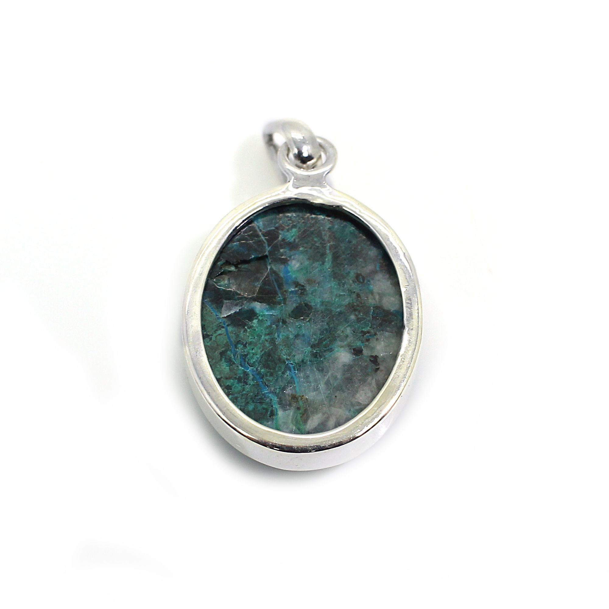Natural Chrysocolla 925 Sterling Silver Pendant