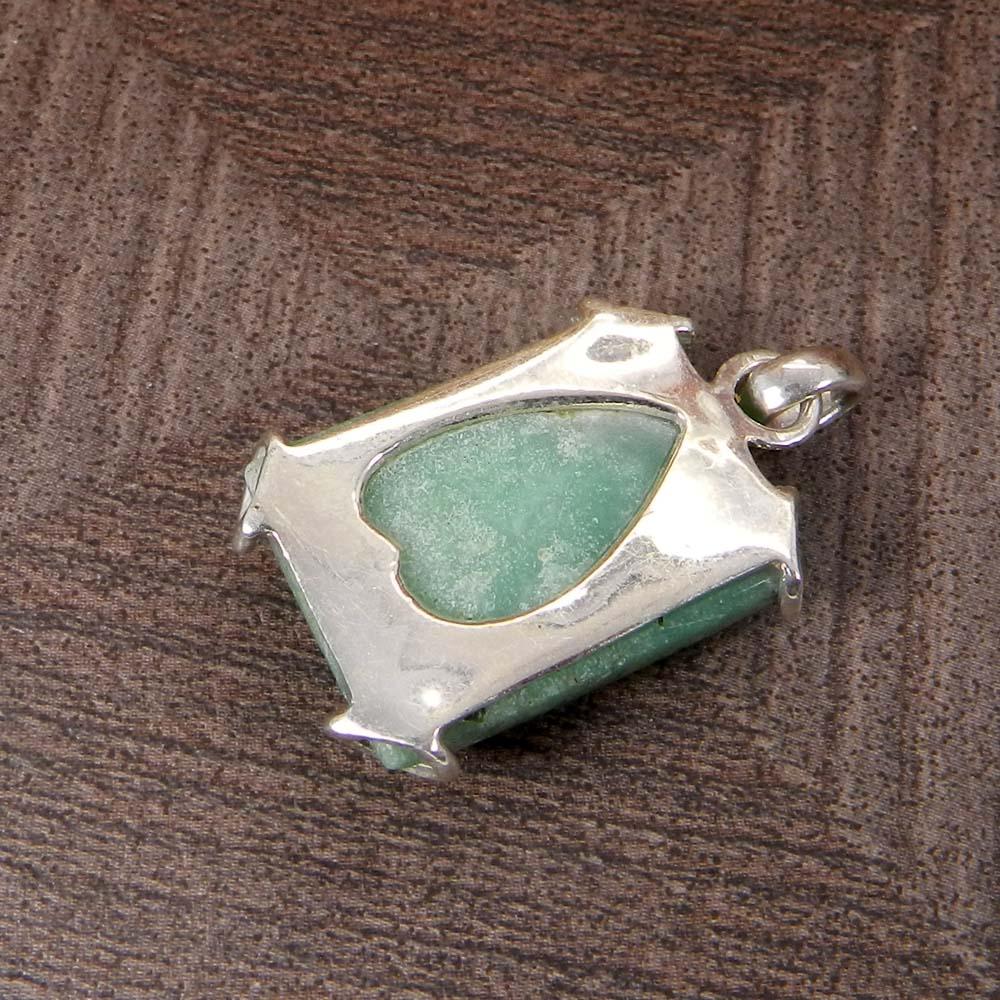 Natural Chrysoprase 925 Sterling Silver Designer Prong Set Pendant