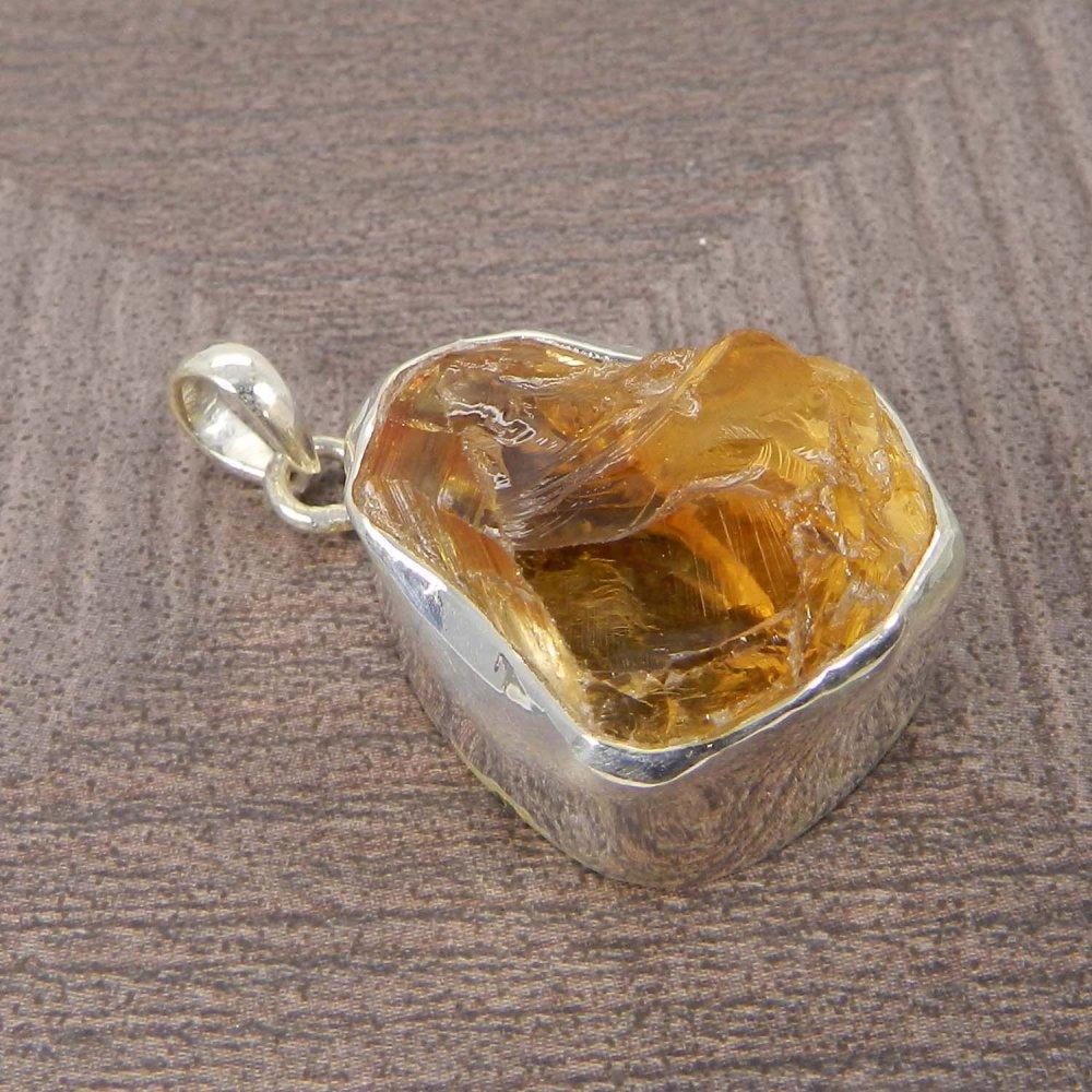 Natural Citrine Rough 925 Sterling Silver Designer Bezel Set Pendant