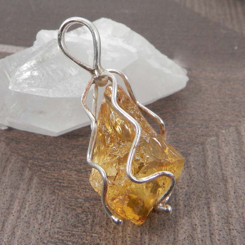 Natural Citrine Rough 925 Sterling Silver Wire Wrapped Designer Pendant