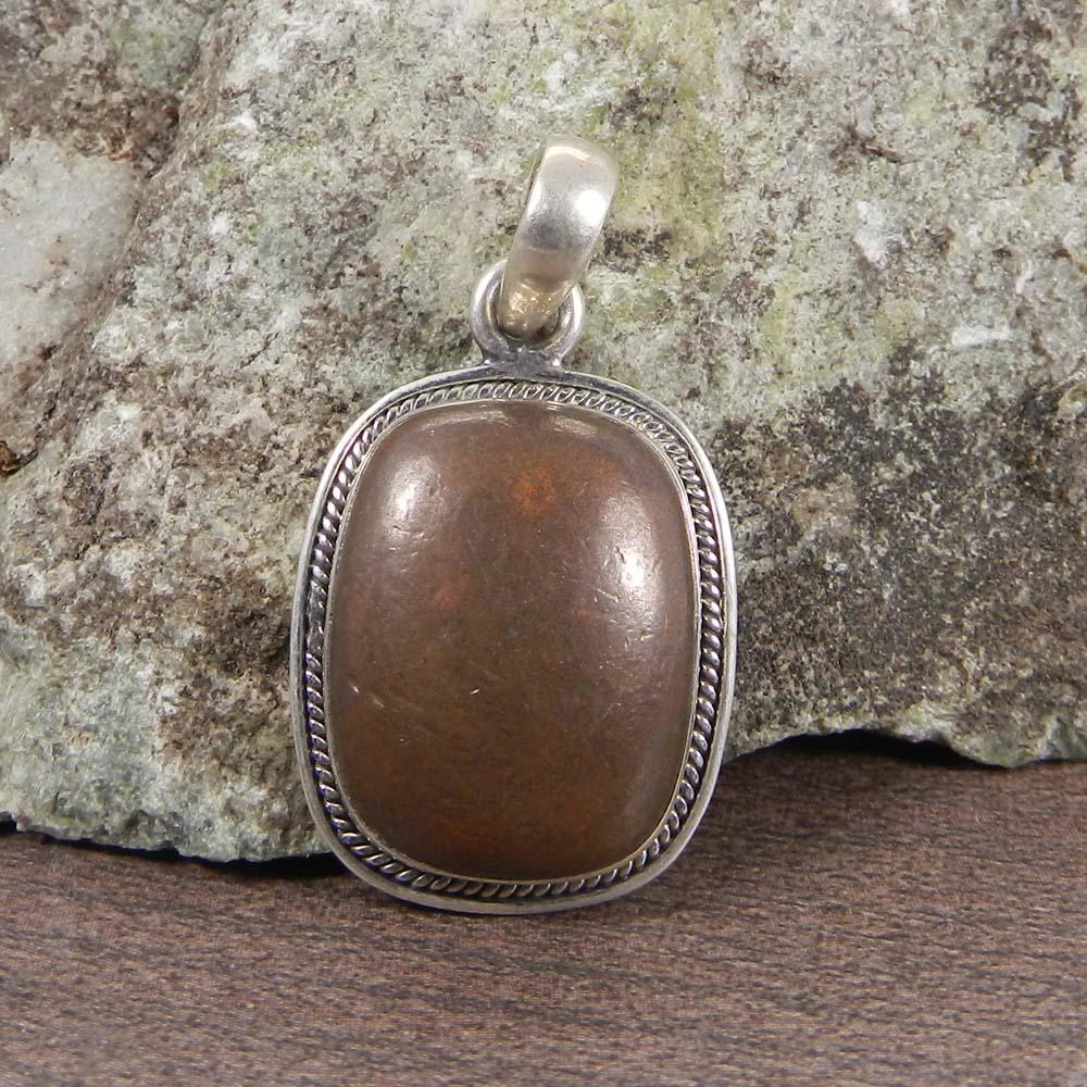 Natural Copper Pyrite 925 Sterling Silver Designer Bezel Set Pendant