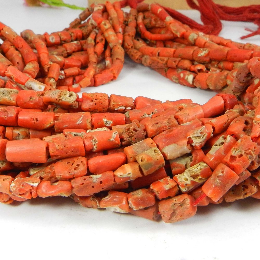 Natural Coral 11x6mm Tube Smooth Gemstone Strand Beads