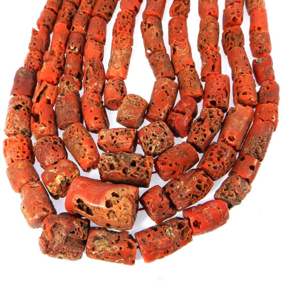 Natural Coral 16x10mm Tube Smooth Gemstone Strand Beads