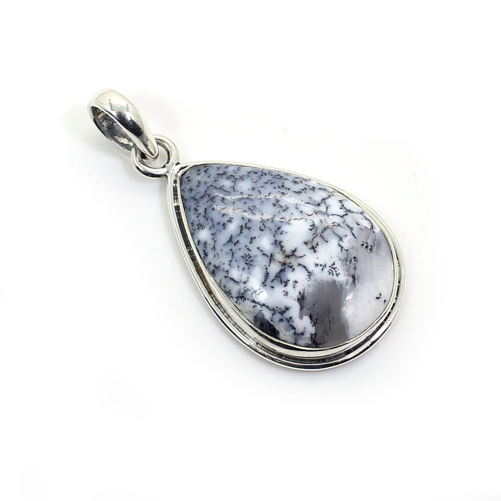Natural Dendritic Agate 925 Sterling Silver Pendant