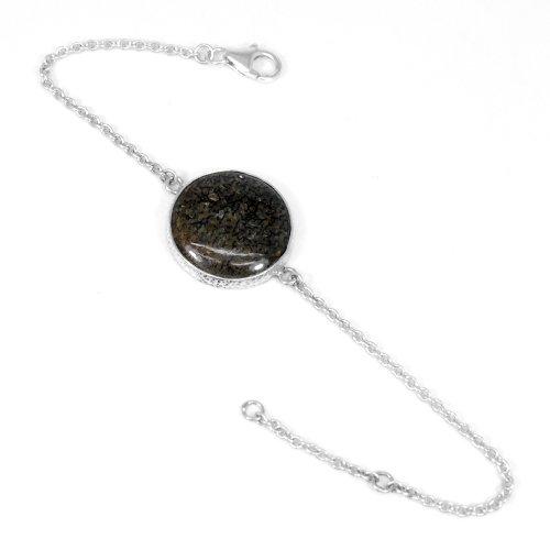 Natural Dinosaur Bone Gemstone Bracelet Solid 925 Sterling Silver Bracelet Women Spiritual Bracelet