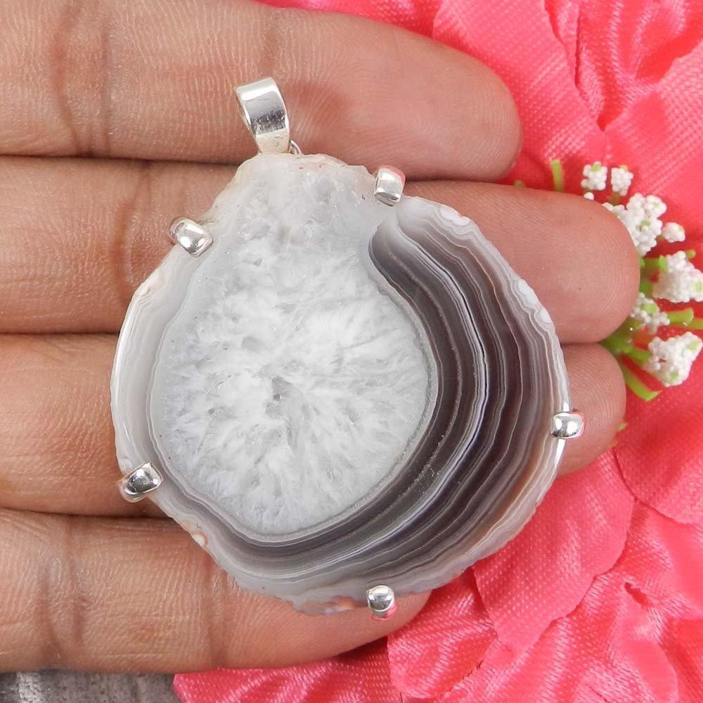 Natural Druzy 925 Sterling Silver Designer Prong Set Pendant