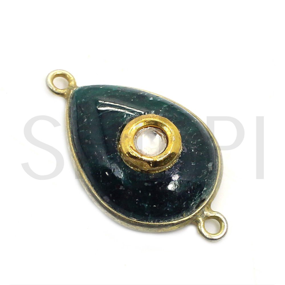 Natural Emerald Corundum Gold Plated Double Loop Connector