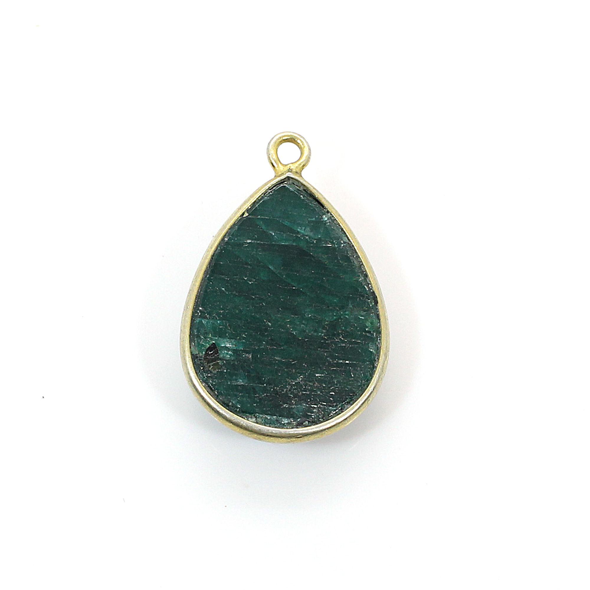 Natural Emerald Corundum Gold Plated Single Loop Connector