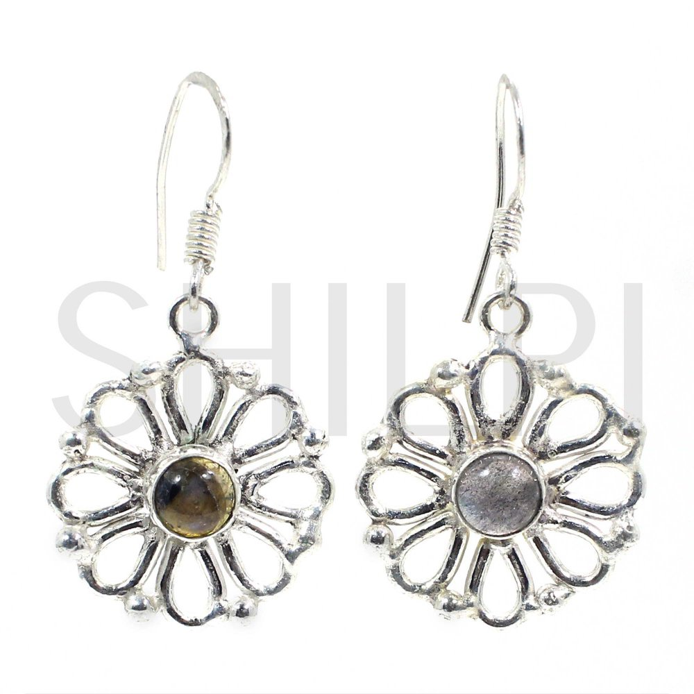 Natural Fiery Labradorite German Silver Designer Dangle Earrings