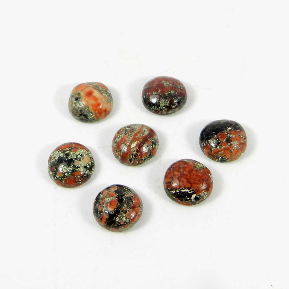 Natural Fireworks Obsidian 7mm Round Cabochon 1.04 Cts