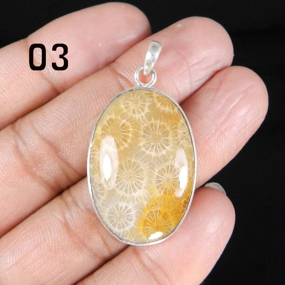 Natural Fossil Coral 925 Sterling Silver Designer Bezel Set Pendant