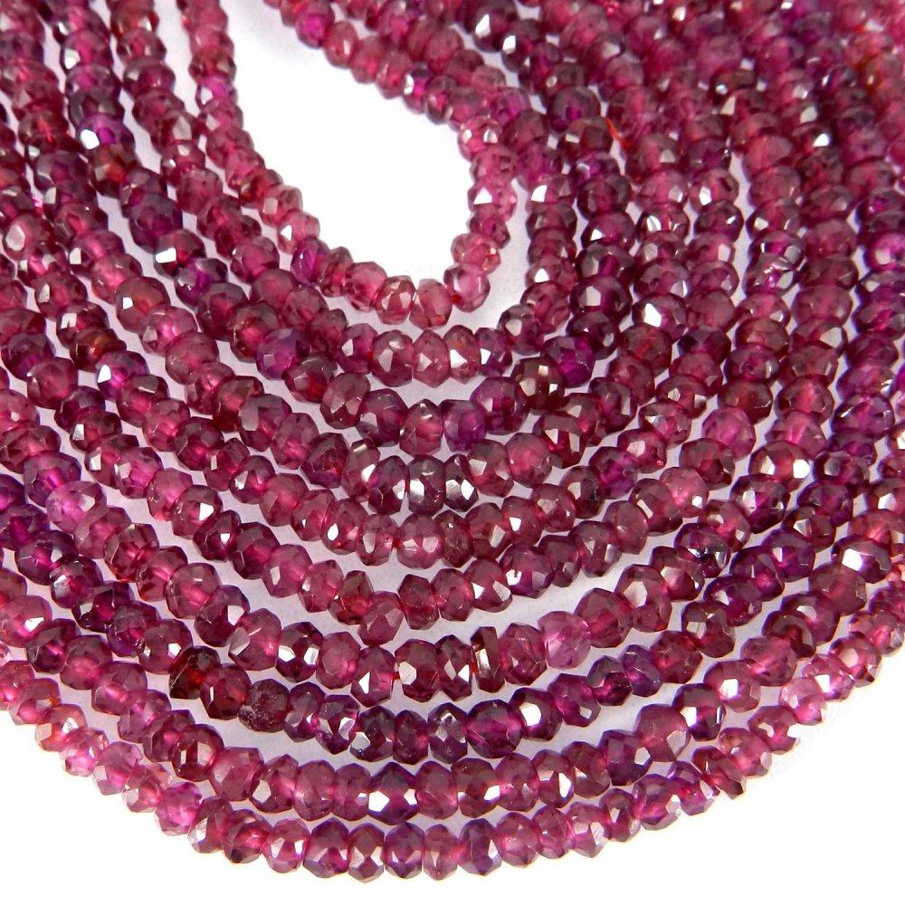 Natural Garnet 3mm Roundel Facet Gemstone Strand Beads