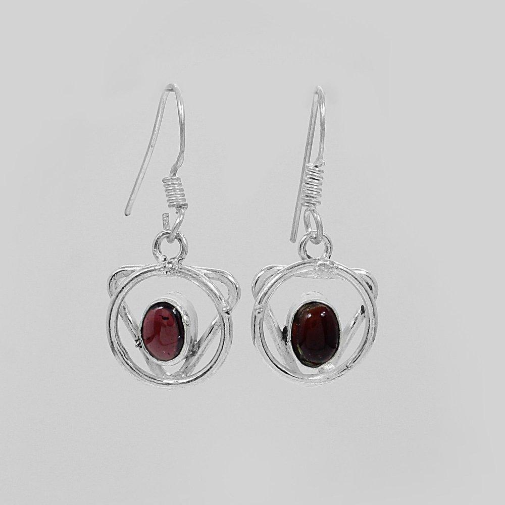 Natural Garnet Designer Silver Dangle Earrings