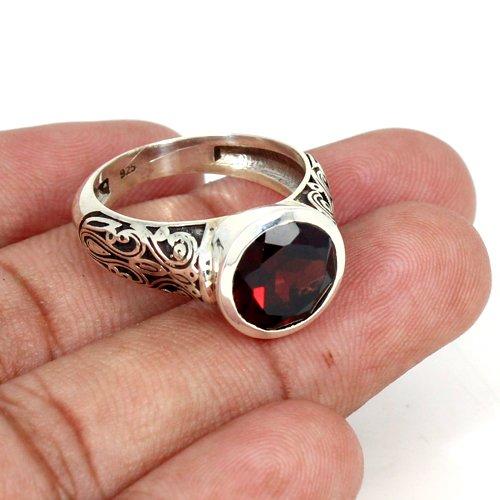 Natural Garnet Gemstone Ring Solid 925 Sterling Silver Ring Designer Band Unisex Ring