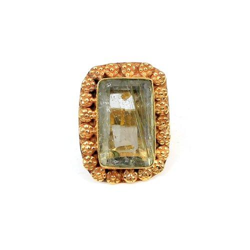 Natural Golden Rutile Gemstone Ring Designer Gold Plated Huge Ring Mens Wedding Rings Thanksgiving Gift Jewelry Brass Ring