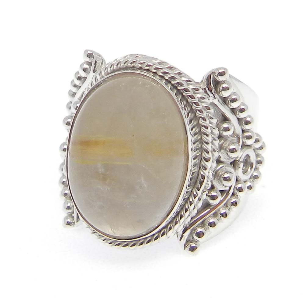 Natural Golden Rutile Ring Solid 925 Sterling Silver Ring Oval Cabochon Ring Unique Designer Ring Mens Adjustable Ring Thanksgiving Gift Ring