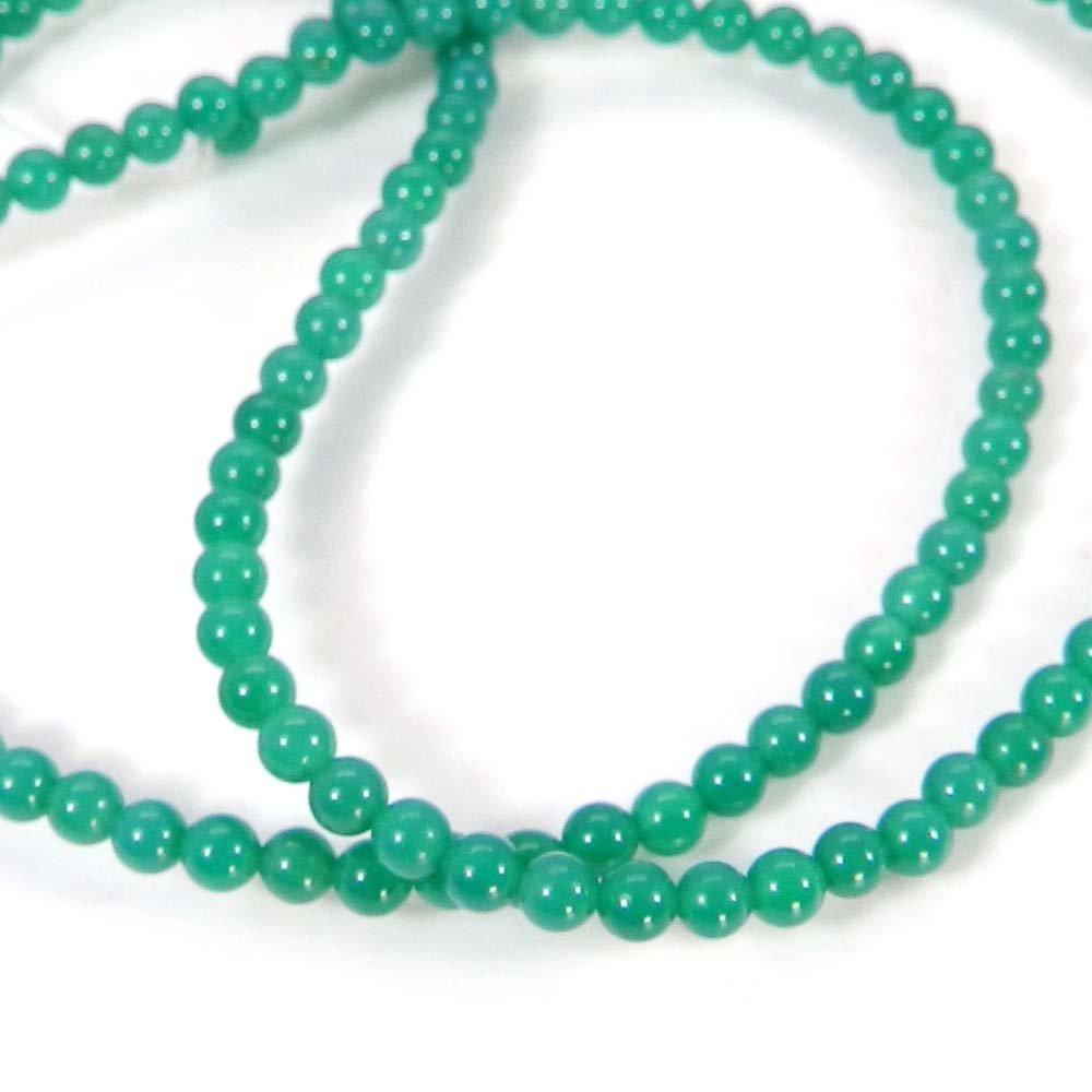 Natural Green Onyx 3mm Round Smooth Gemstone Strand Beads