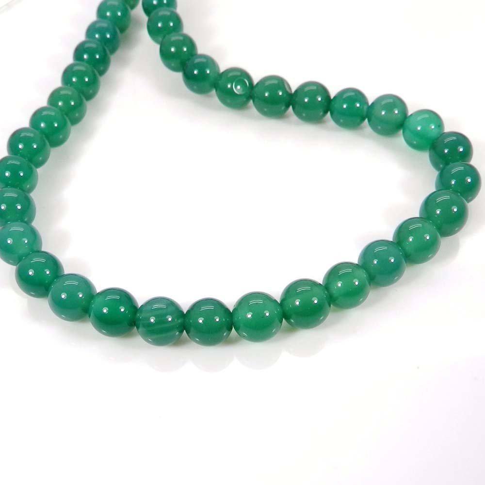 Natural Green Onyx 6mm Round Smooth Gemstone Strand Beads
