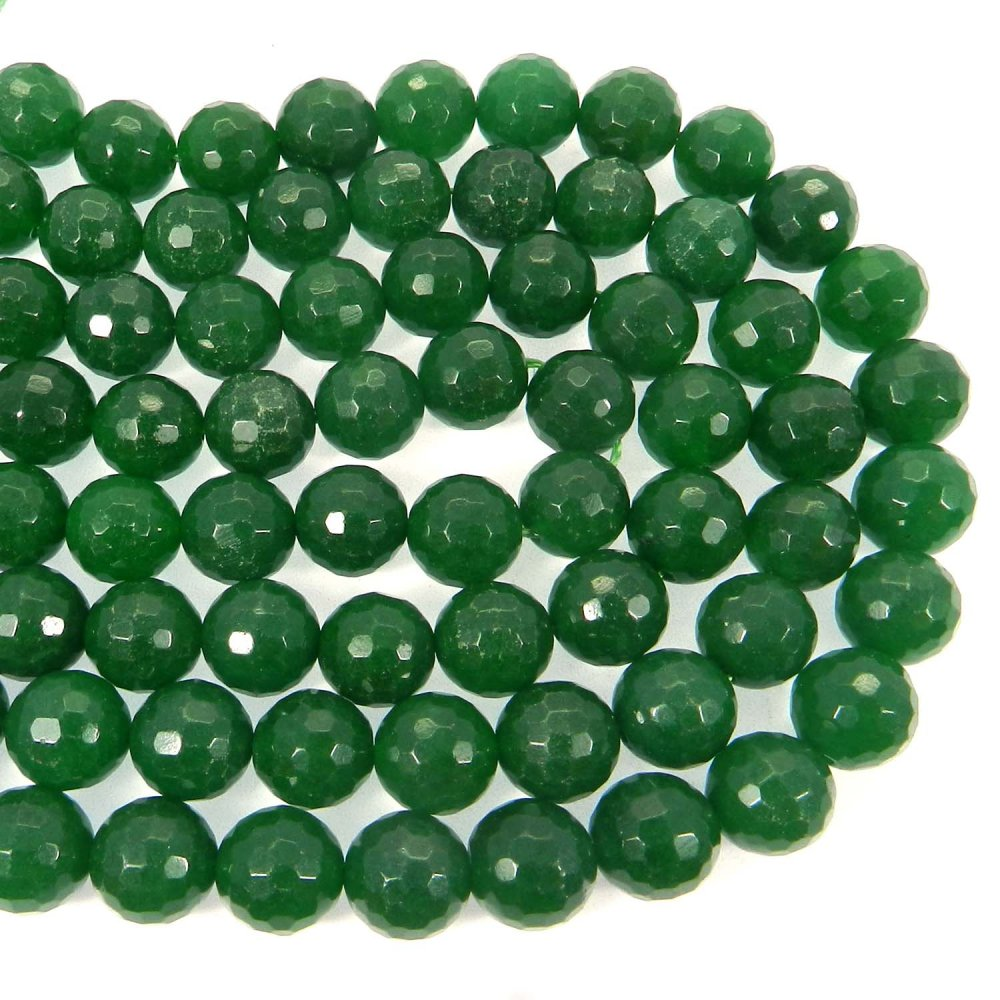 Natural Green Onyx 8mm Round Facet Gemstone Strand Beads