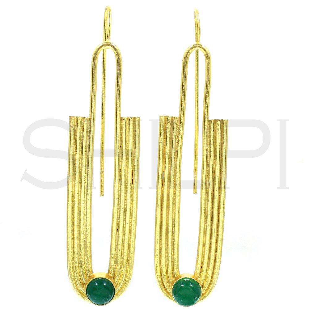 Natural Green Onyx Gold Plated Designer Handmade Dangle Earrings