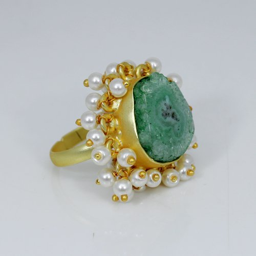 Natural Green Solar Quartz Druzy Gemstone Ring Brass Gold Plated Adjustable Ring Tiny Pearl Rings Solitaire Women Wedding Ring